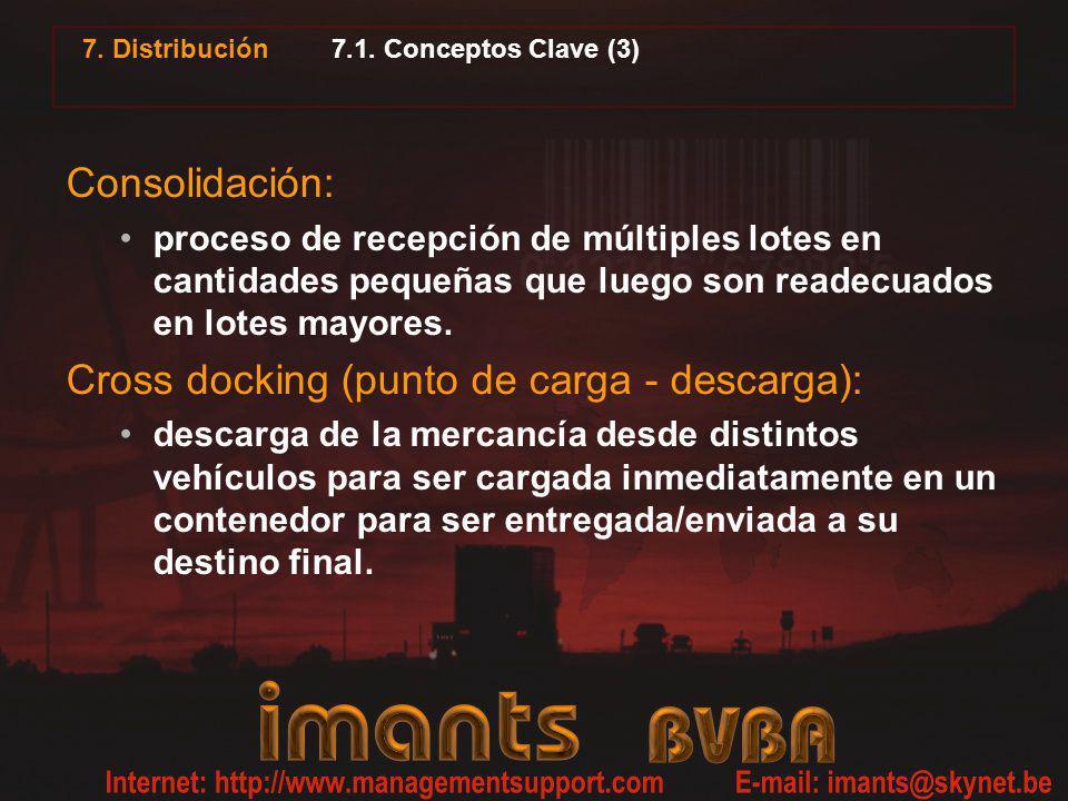 7. Distribución 7.1. Conceptos Clave (3) Consolidación: proceso de recepción de múltiples lotes en cantidades pequeñas que luego son readecuados en lo