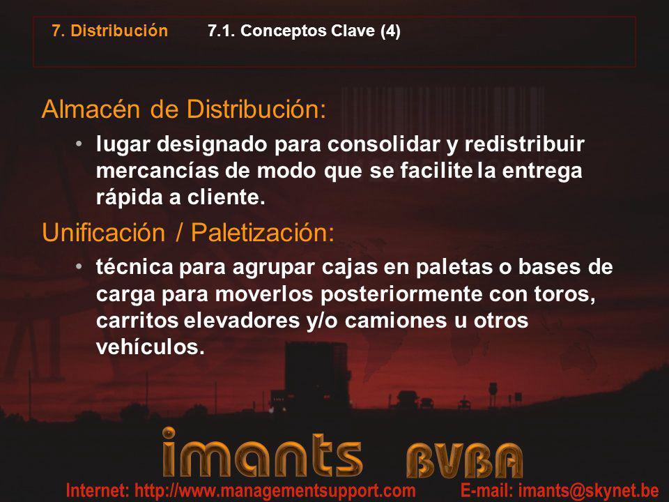 7. Distribución 7.1. Conceptos Clave (4) Almacén de Distribución: lugar designado para consolidar y redistribuir mercancías de modo que se facilite la