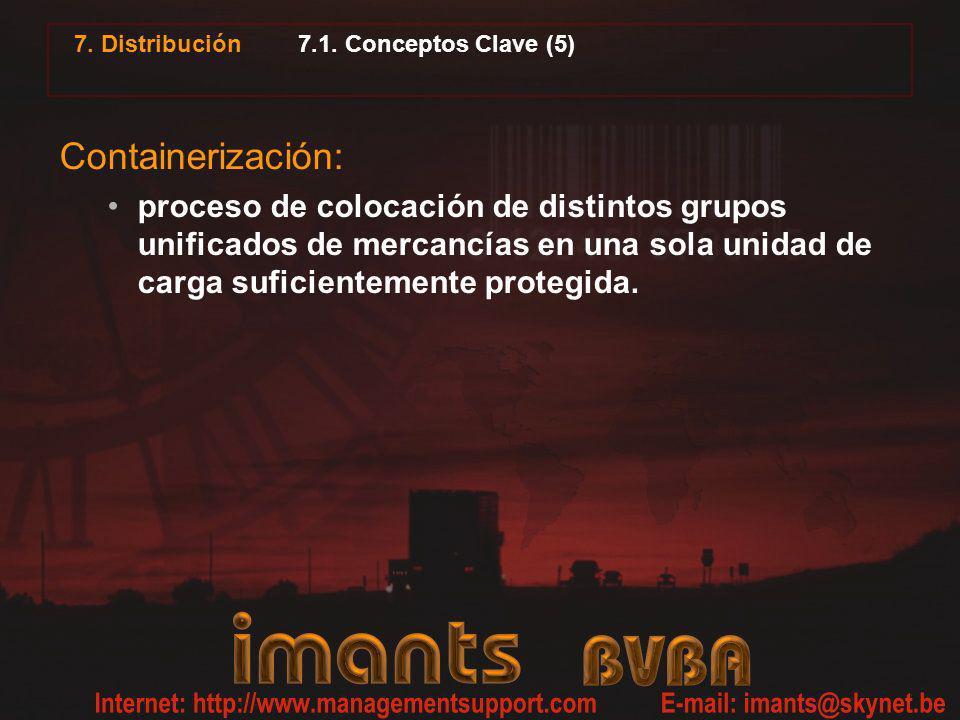 7. Distribución 7.1. Conceptos Clave (5) Containerización: proceso de colocación de distintos grupos unificados de mercancías en una sola unidad de ca