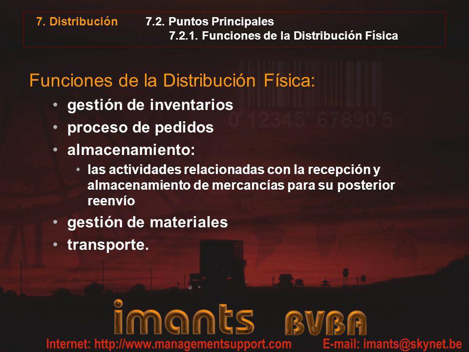 7. Distribución 7.2. Puntos Principales 7.2.1. Funciones de la Distribución Física Funciones de la Distribución Física: gestión de inventarios proceso