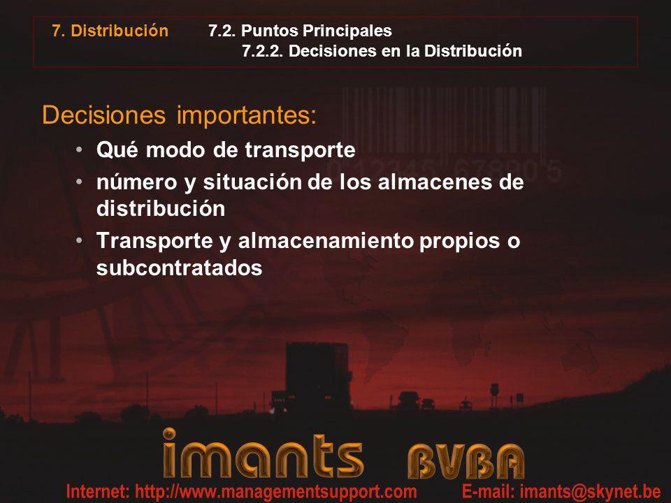 7. Distribución 7.2. Puntos Principales 7.2.2. Decisiones en la Distribución Decisiones importantes: Qué modo de transporte número y situación de los