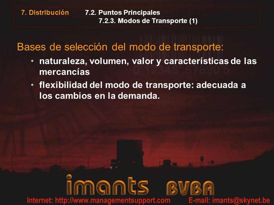 7.2. Puntos Principales 7.2.3. Modos de Transporte (1) Bases de selección del modo de transporte: naturaleza, volumen, valor y características de las