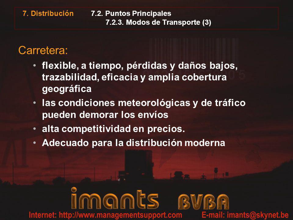 7. Distribución 7.2. Puntos Principales 7.2.3. Modos de Transporte (3) Carretera: flexible, a tiempo, pérdidas y daños bajos, trazabilidad, eficacia y