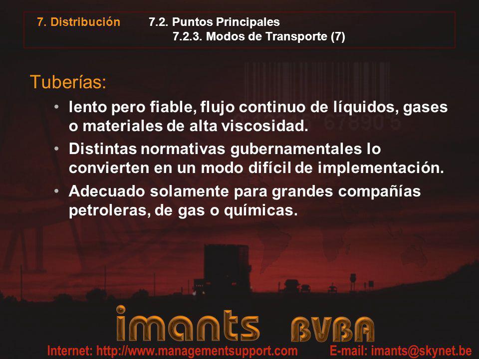 7.2. Puntos Principales 7.2.3. Modos de Transporte (7) Tuberías: lento pero fiable, flujo continuo de líquidos, gases o materiales de alta viscosidad.