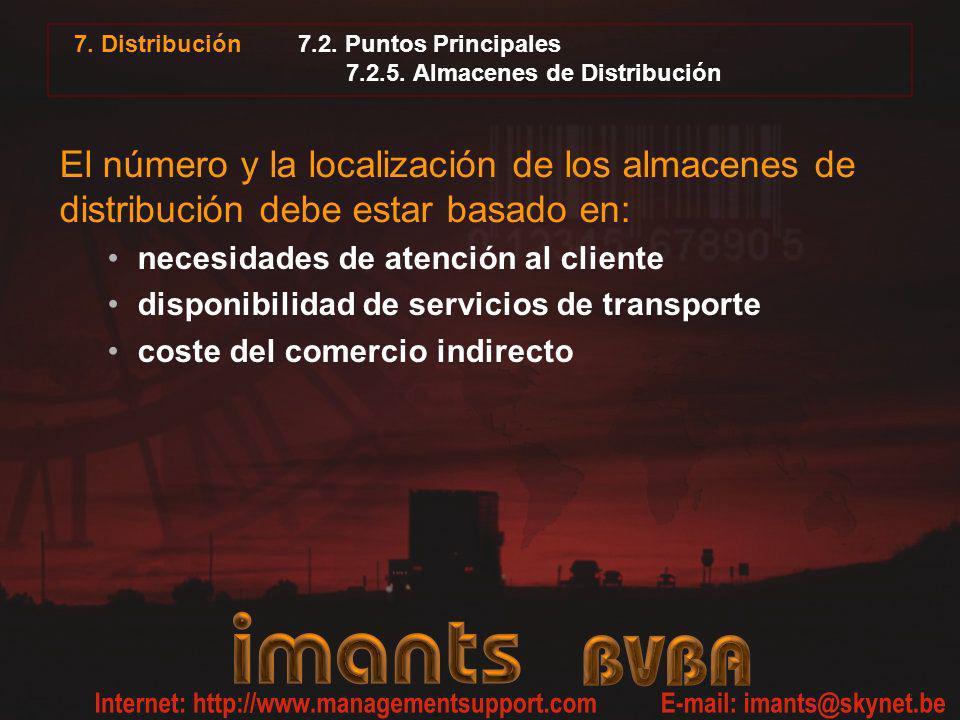 7. Distribución 7.2. Puntos Principales 7.2.5. Almacenes de Distribución El número y la localización de los almacenes de distribución debe estar basad