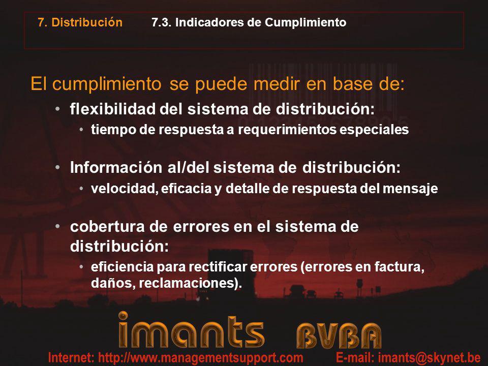 7. Distribución 7.3. Indicadores de Cumplimiento El cumplimiento se puede medir en base de: flexibilidad del sistema de distribución: tiempo de respue