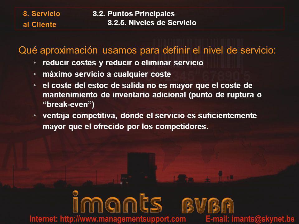 8. Servicio al Cliente 8.2. Puntos Principales 8.2.5. Niveles de Servicio Qué aproximación usamos para definir el nivel de servicio: reducir costes y