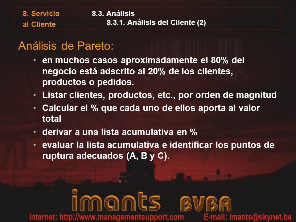 8. Servicio al Cliente 8.3. Análisis 8.3.1. Análisis del Cliente (2) Análisis de Pareto: en muchos casos aproximadamente el 80% del negocio está adscr