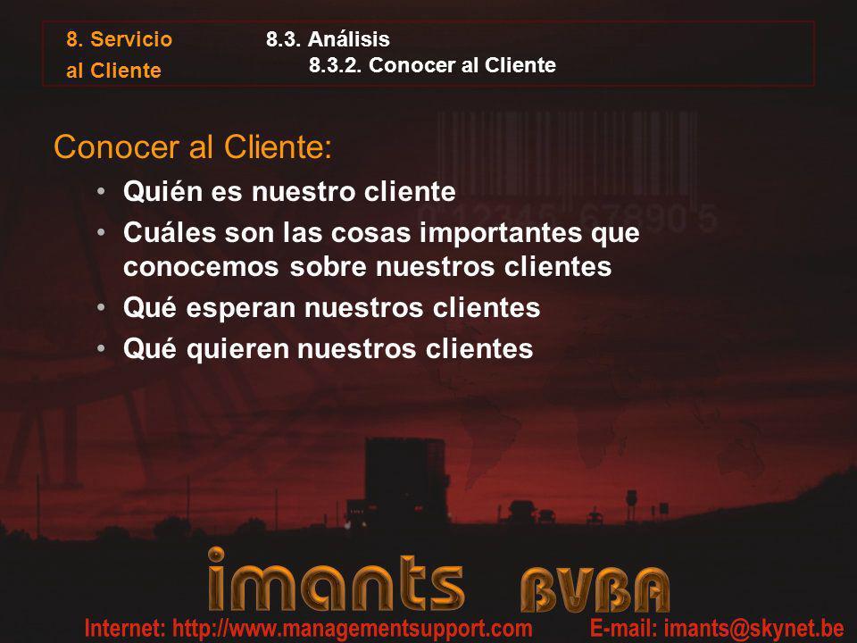 8. Servicio al Cliente 8.3. Análisis 8.3.2. Conocer al Cliente Conocer al Cliente: Quién es nuestro cliente Cuáles son las cosas importantes que conoc