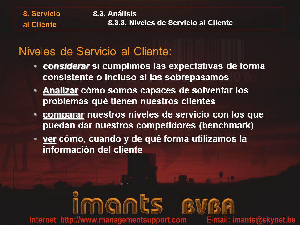 8. Servicio al Cliente 8.3. Análisis 8.3.3. Niveles de Servicio al Cliente Niveles de Servicio al Cliente: considerarconsiderar si cumplimos las expec