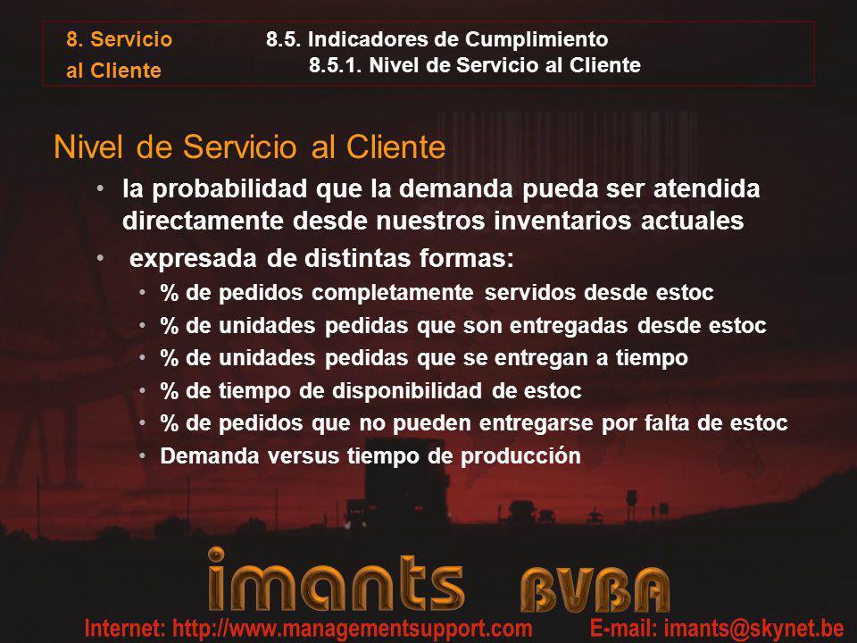 8. Servicio al Cliente 8.5. Indicadores de Cumplimiento 8.5.1. Nivel de Servicio al Cliente Nivel de Servicio al Cliente la probabilidad que la demand
