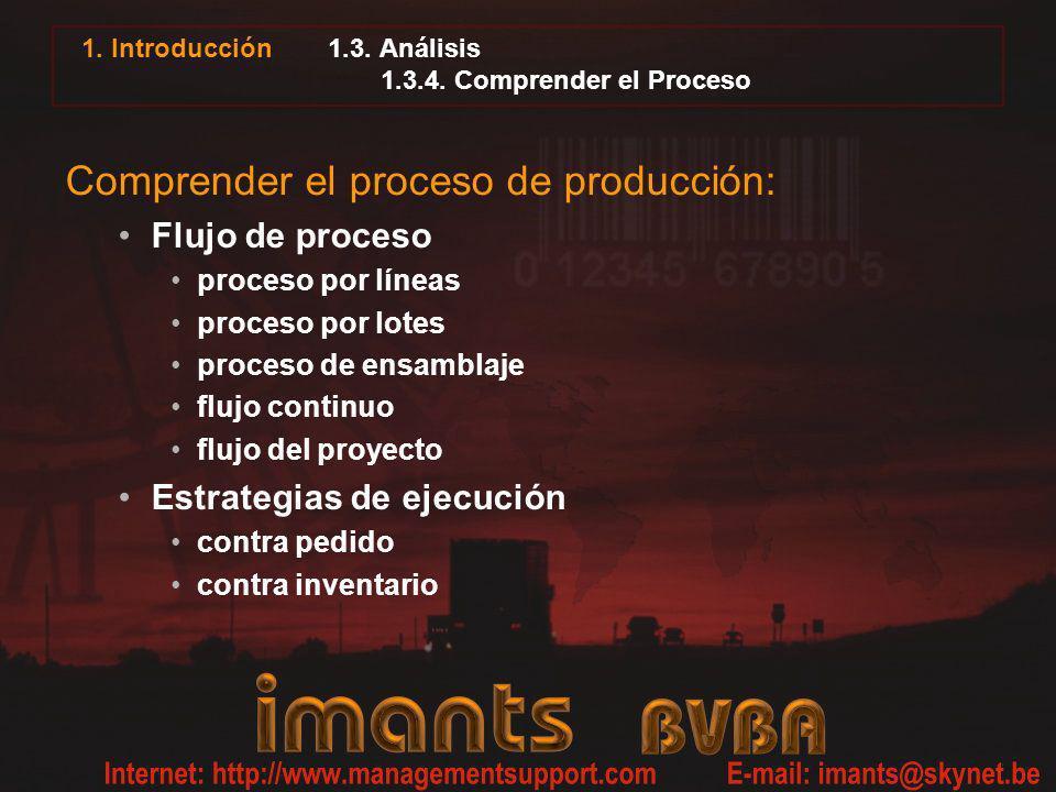 1. Introducción 1.3. Análisis 1.3.4. Comprender el Proceso Comprender el proceso de producción: Flujo de proceso proceso por líneas proceso por lotes