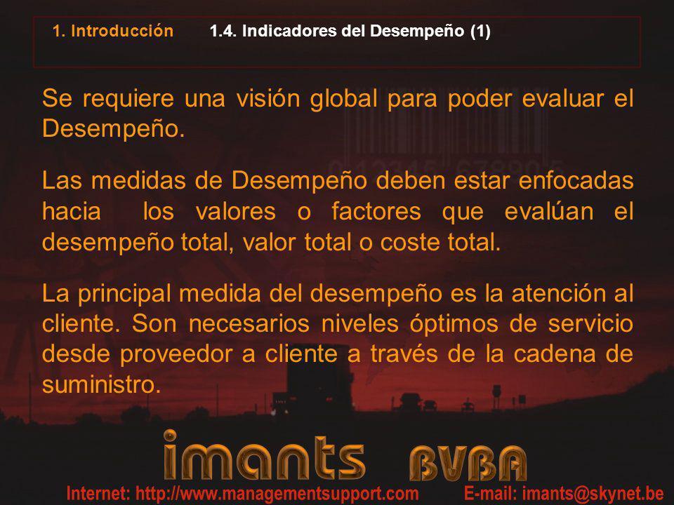 1. Introducción 1.4. Indicadores del Desempeño (1) Se requiere una visión global para poder evaluar el Desempeño. Las medidas de Desempeño deben estar