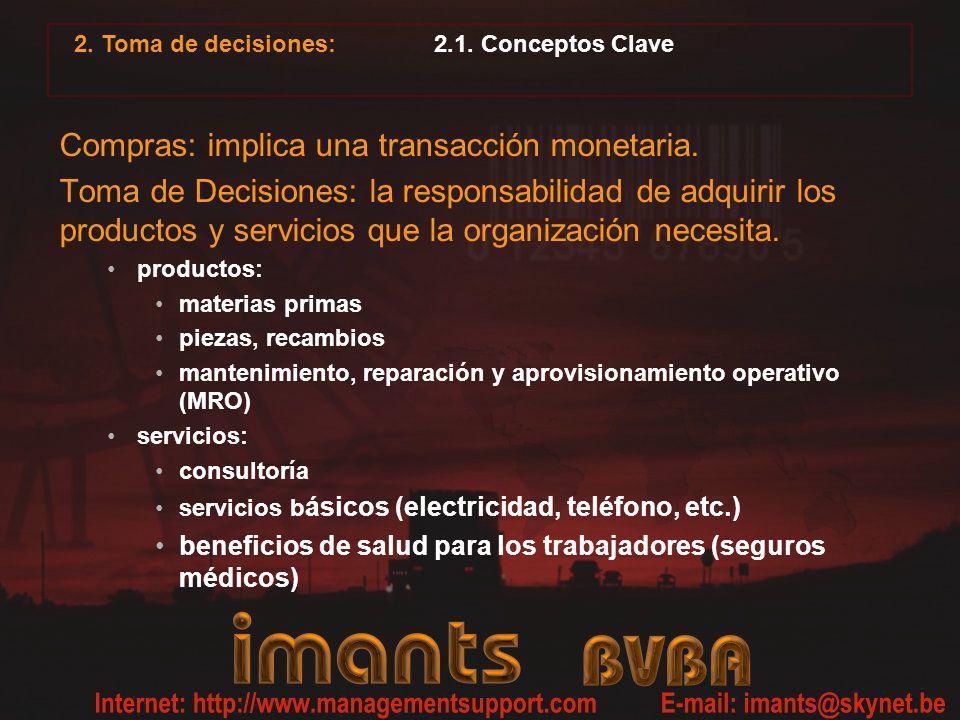 2. Toma de decisiones: 2.1. Conceptos Clave Compras: implica una transacción monetaria. Toma de Decisiones: la responsabilidad de adquirir los product
