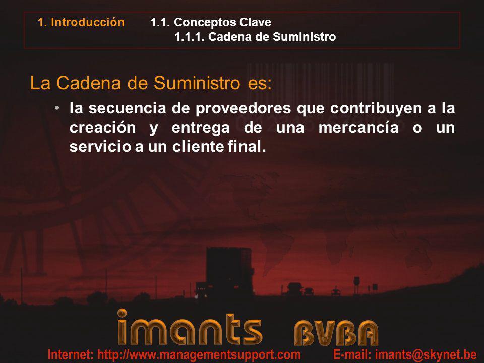 1.1. Conceptos Clave 1.1.1. Cadena de Suministro La Cadena de Suministro es: la secuencia de proveedores que contribuyen a la creación y entrega de un
