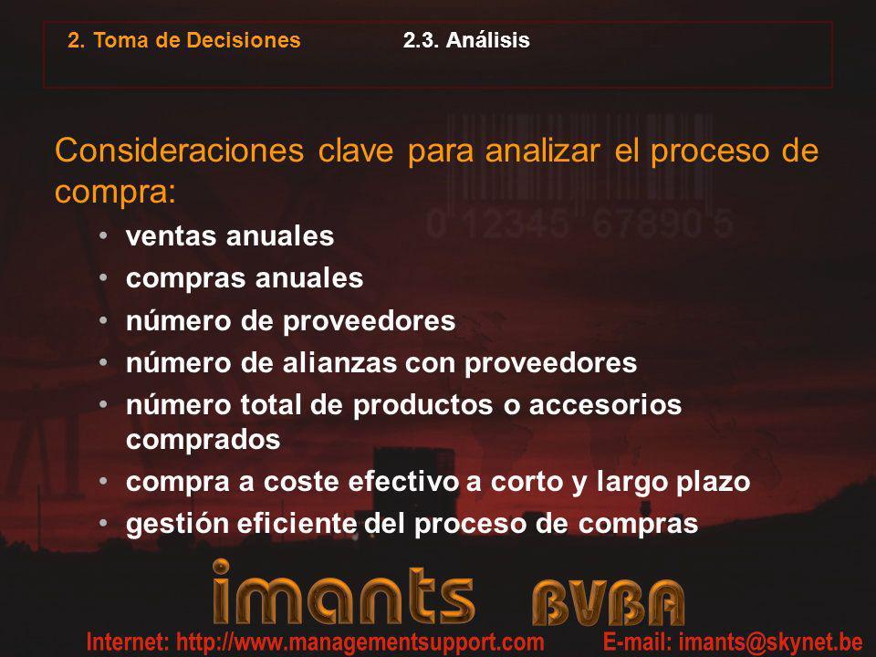 2.3. Análisis Consideraciones clave para analizar el proceso de compra: ventas anuales compras anuales número de proveedores número de alianzas con pr