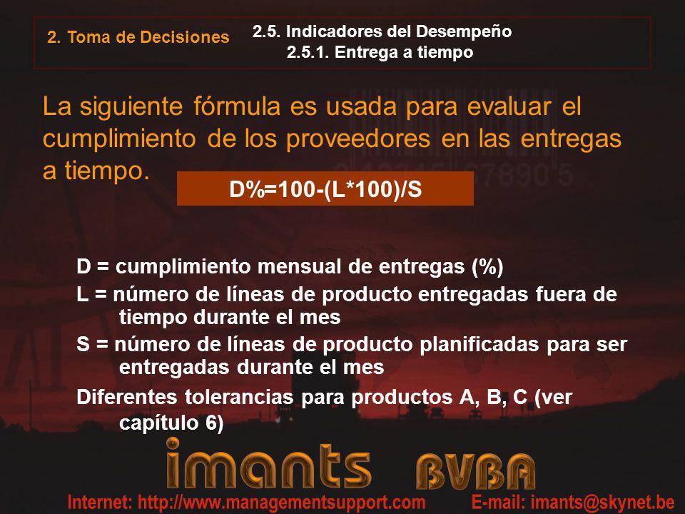 D%=100-(L*100)/S 2. Toma de Decisiones 2.5. Indicadores del Desempeño 2.5.1. Entrega a tiempo La siguiente fórmula es usada para evaluar el cumplimien