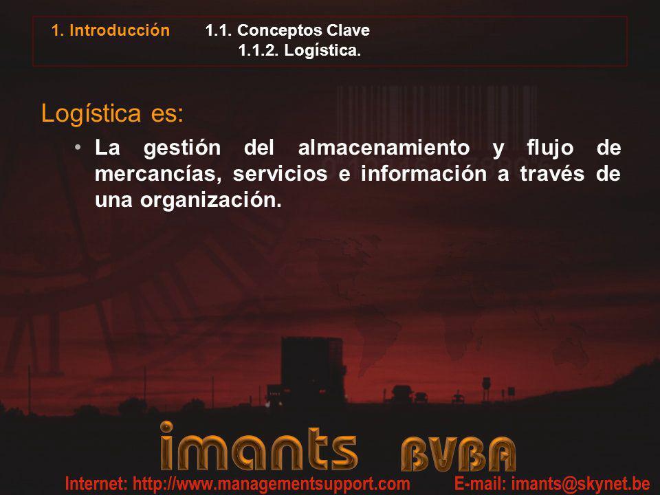 1. Introducción 1.1. Conceptos Clave 1.1.2. Logística. Logística es: La gestión del almacenamiento y flujo de mercancías, servicios e información a tr