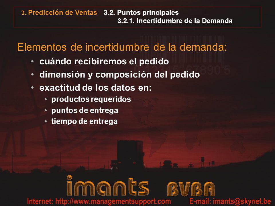 3.2. Puntos principales 3.2.1. Incertidumbre de la Demanda Elementos de incertidumbre de la demanda: cuándo recibiremos el pedido dimensión y composic