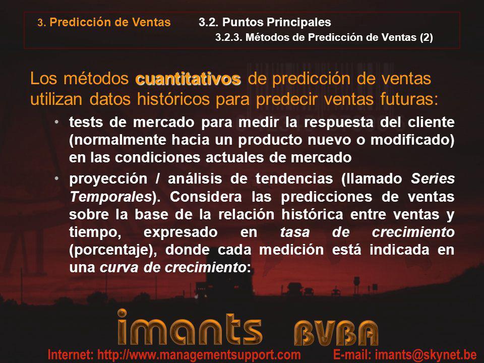 3.2. Puntos Principales 3.2.3. Métodos de Predicción de Ventas (2) cuantitativos Los métodos cuantitativos de predicción de ventas utilizan datos hist