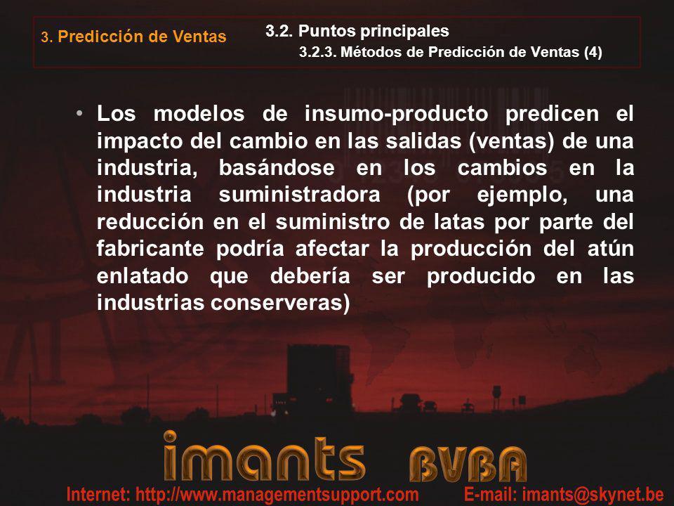 3. Predicción de Ventas 3.2. Puntos principales 3.2.3. Métodos de Predicción de Ventas (4) Los modelos de insumo-producto predicen el impacto del camb