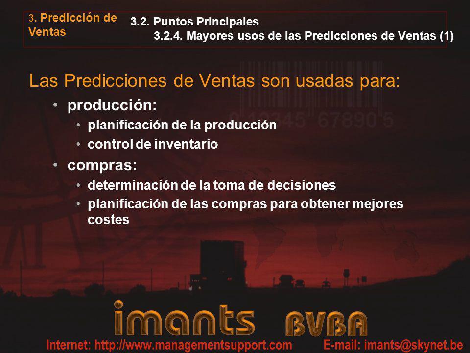 3. Predicción de Ventas 3.2. Puntos Principales 3.2.4. Mayores usos de las Predicciones de Ventas (1) Las Predicciones de Ventas son usadas para: prod