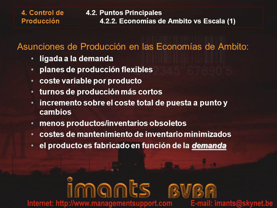 4. Control de Producción 4.2. Puntos Principales 4.2.2. Economías de Ambito vs Escala (1) Asunciones de Producción en las Economías de Ambito: ligada