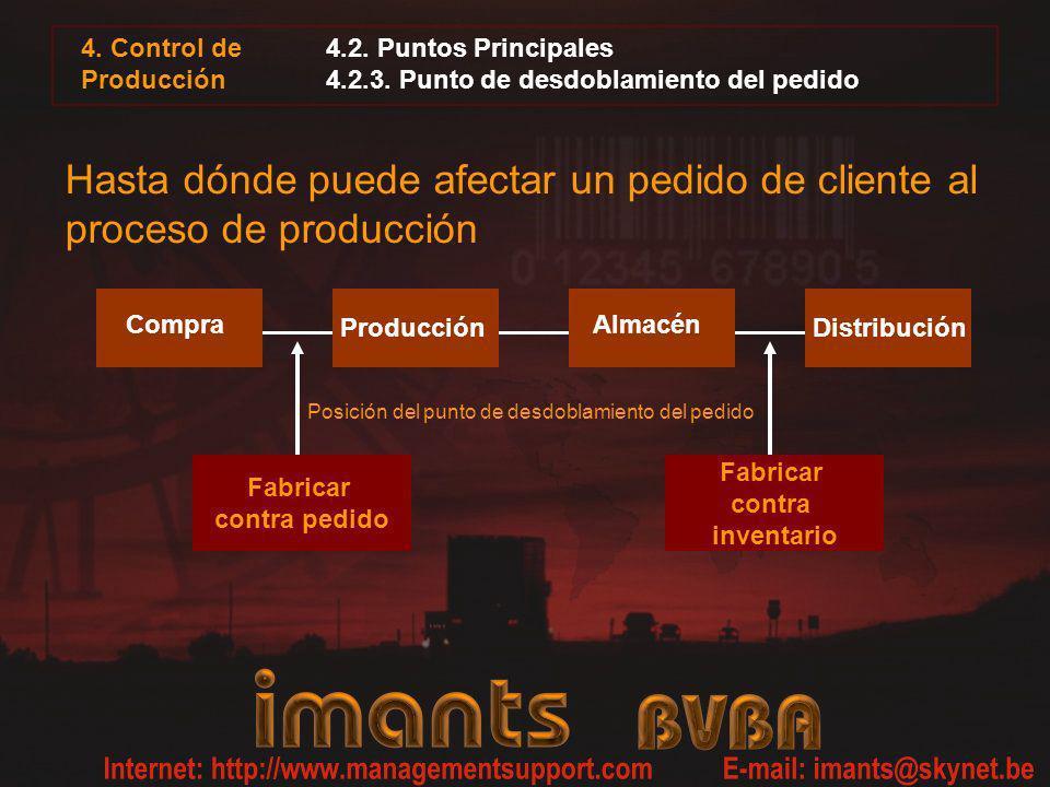 4. Control de Producción 4.2. Puntos Principales 4.2.3. Punto de desdoblamiento del pedido Hasta dónde puede afectar un pedido de cliente al proceso d