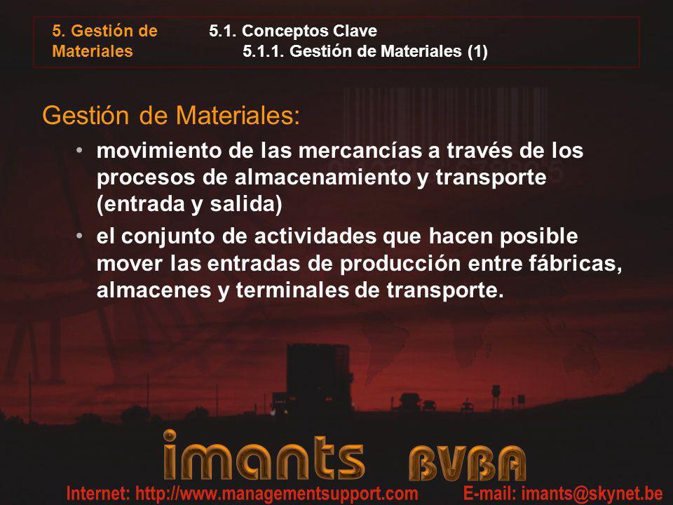 5.1. Conceptos Clave 5.1.1. Gestión de Materiales (1) Gestión de Materiales: movimiento de las mercancías a través de los procesos de almacenamiento y