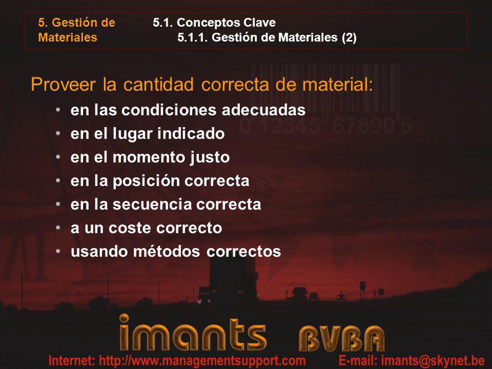 5.1. Conceptos Clave 5.1.1. Gestión de Materiales (2) Proveer la cantidad correcta de material: en las condiciones adecuadas en el lugar indicado en e