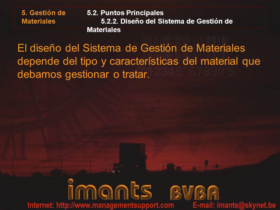 5. Gestión de Materiales 5.2. Puntos Principales 5.2.2. Diseño del Sistema de Gestión de Materiales El diseño del Sistema de Gestión de Materiales dep