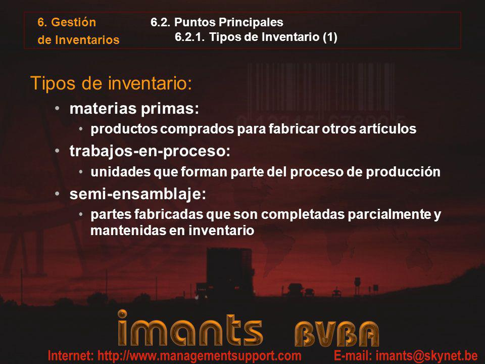 6. Gestión de Inventarios 6.2. Puntos Principales 6.2.1. Tipos de Inventario (1) Tipos de inventario: materias primas: productos comprados para fabric