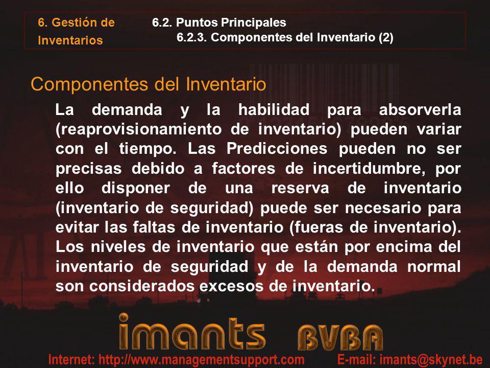 6. Gestión de Inventarios 6.2. Puntos Principales 6.2.3. Componentes del Inventario (2) Componentes del Inventario La demanda y la habilidad para abso