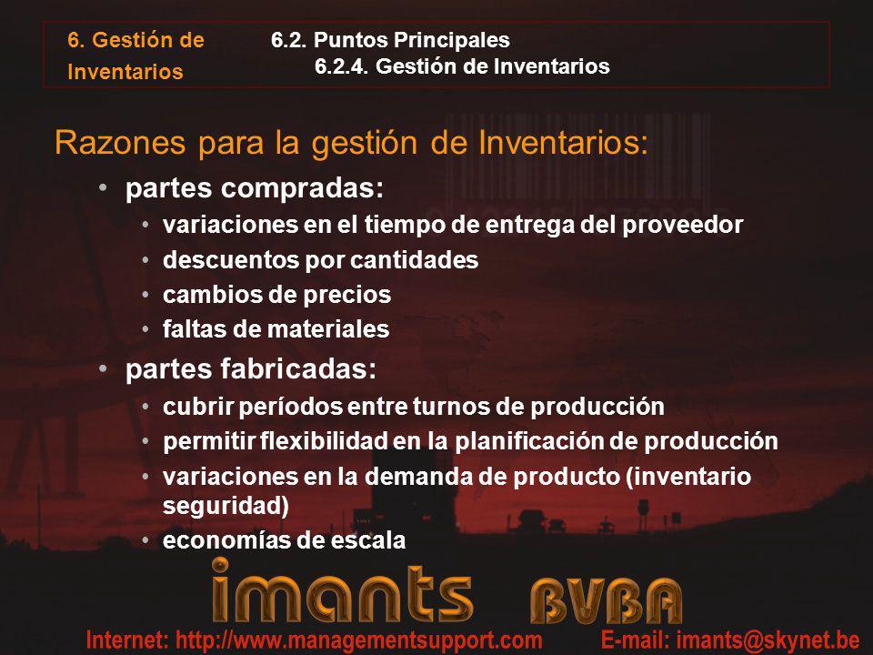 6. Gestión de Inventarios 6.2. Puntos Principales 6.2.4. Gestión de Inventarios Razones para la gestión de Inventarios: partes compradas: variaciones