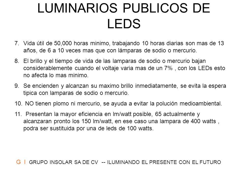 LUMINARIOS PUBLICOS DE LEDS 7.Vida útil de 50,000 horas minimo, trabajando 10 horas diarias son mas de 13 años, de 6 a 10 veces mas que con lámparas d