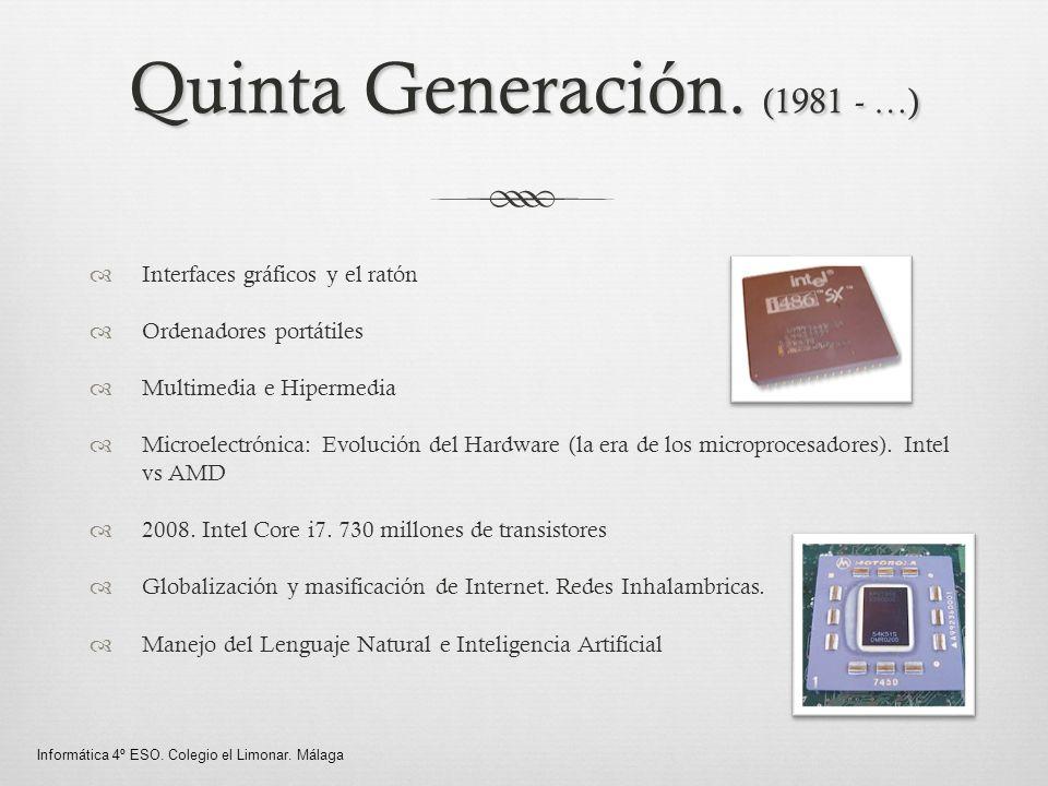 Quinta Generación. (1981 - …) Interfaces gráficos y el ratón Ordenadores portátiles Multimedia e Hipermedia Microelectrónica: Evolución del Hardware (