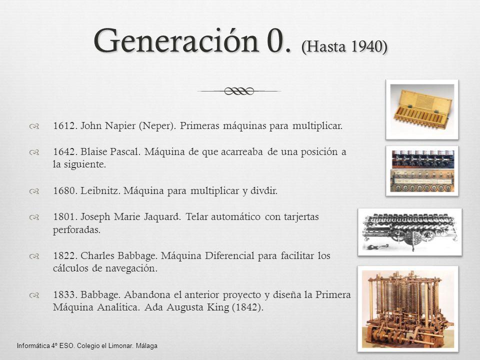 Generación 0. (Hasta 1940) 1612. John Napier (Neper). Primeras máquinas para multiplicar. 1642. Blaise Pascal. Máquina de que acarreaba de una posició