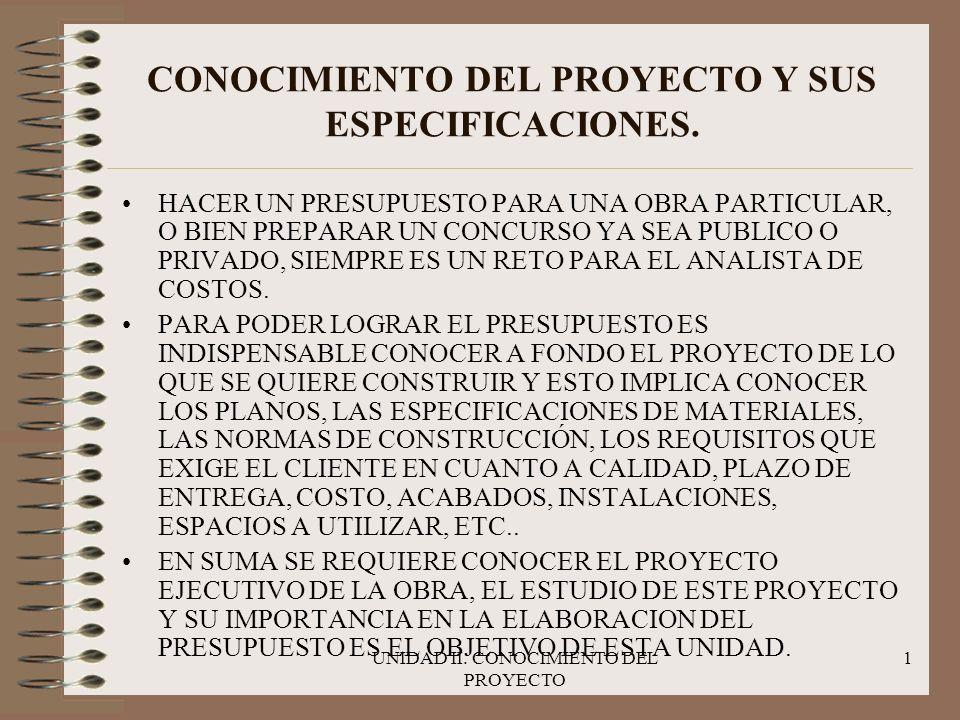 UNIDAD II.CONOCIMIENTO DEL PROYECTO 2 CONOCIMIENTO DEL PROYECTO Y SUS ESPECIFICACIONES.