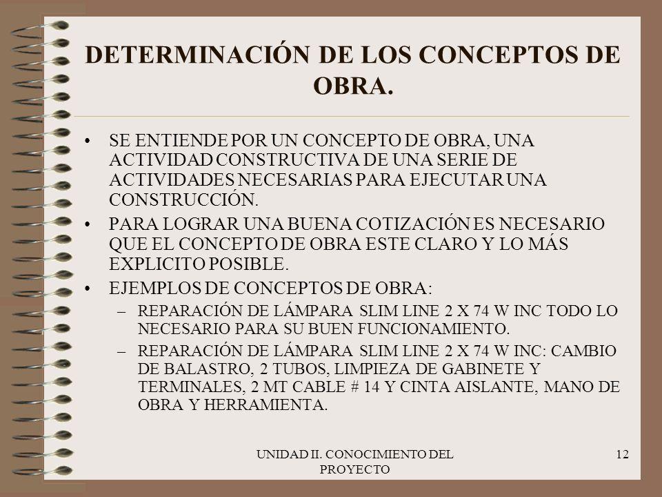 UNIDAD II. CONOCIMIENTO DEL PROYECTO 12 DETERMINACIÓN DE LOS CONCEPTOS DE OBRA. SE ENTIENDE POR UN CONCEPTO DE OBRA, UNA ACTIVIDAD CONSTRUCTIVA DE UNA