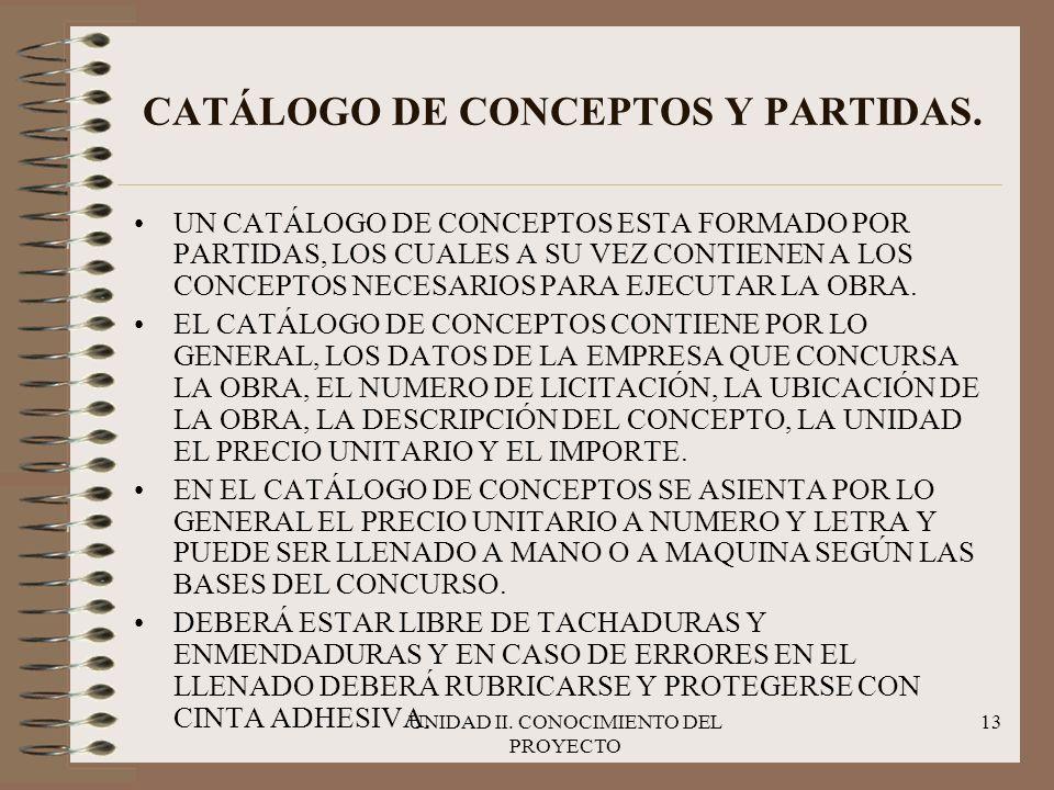 UNIDAD II. CONOCIMIENTO DEL PROYECTO 13 CATÁLOGO DE CONCEPTOS Y PARTIDAS. UN CATÁLOGO DE CONCEPTOS ESTA FORMADO POR PARTIDAS, LOS CUALES A SU VEZ CONT