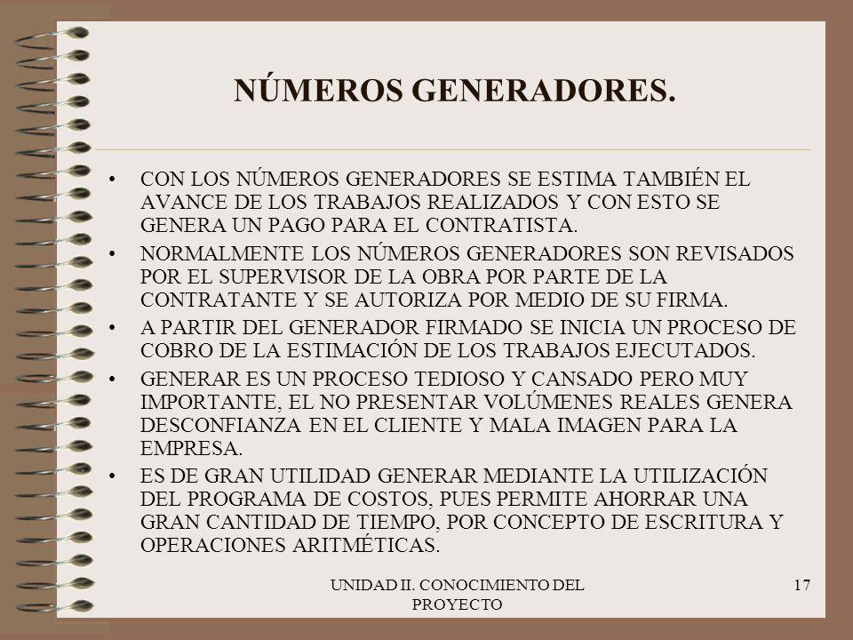 UNIDAD II. CONOCIMIENTO DEL PROYECTO 17 NÚMEROS GENERADORES. CON LOS NÚMEROS GENERADORES SE ESTIMA TAMBIÉN EL AVANCE DE LOS TRABAJOS REALIZADOS Y CON
