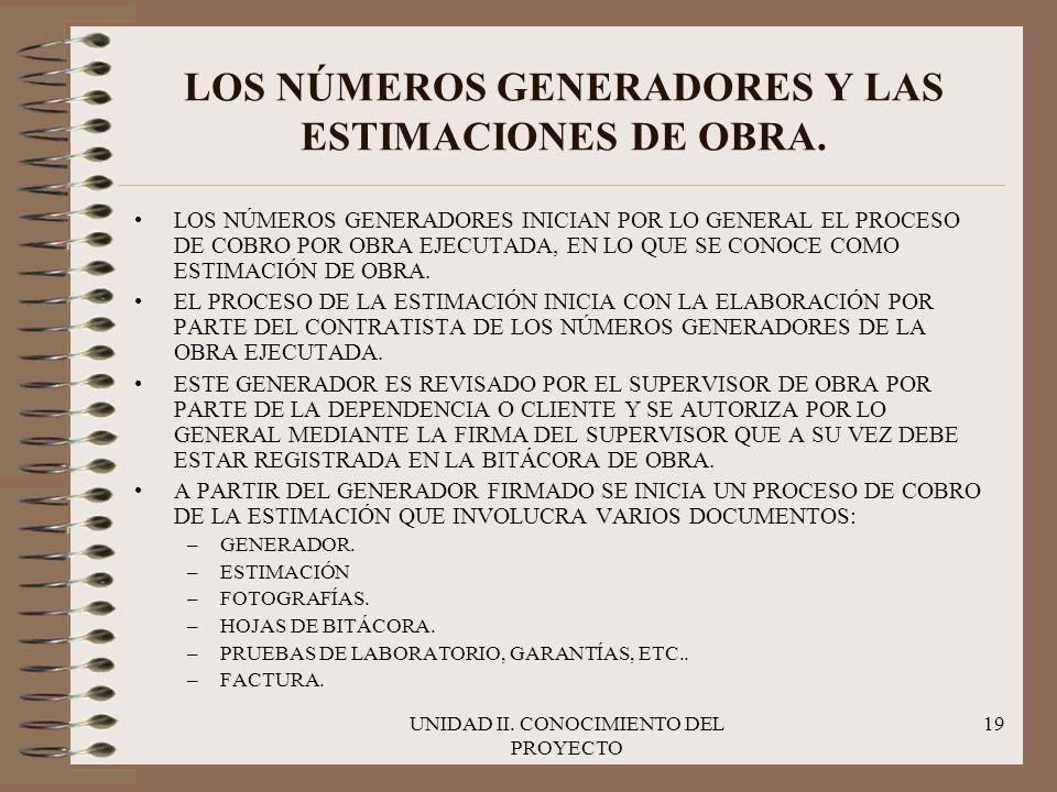 UNIDAD II. CONOCIMIENTO DEL PROYECTO 19 LOS NÚMEROS GENERADORES Y LAS ESTIMACIONES DE OBRA. LOS NÚMEROS GENERADORES INICIAN POR LO GENERAL EL PROCESO