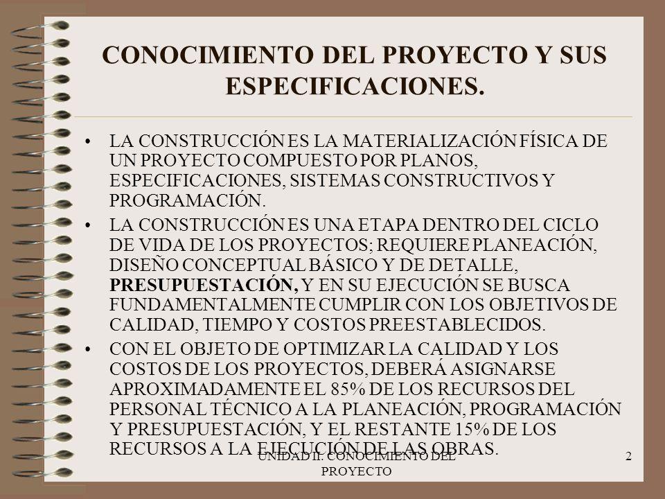 UNIDAD II.CONOCIMIENTO DEL PROYECTO 3 CONOCIMIENTO DEL PROYECTO Y SUS ESPECIFICACIONES.
