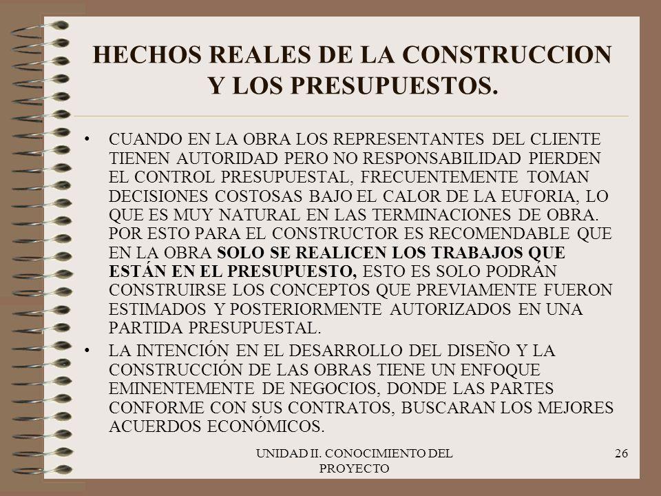 UNIDAD II. CONOCIMIENTO DEL PROYECTO 26 HECHOS REALES DE LA CONSTRUCCION Y LOS PRESUPUESTOS. CUANDO EN LA OBRA LOS REPRESENTANTES DEL CLIENTE TIENEN A