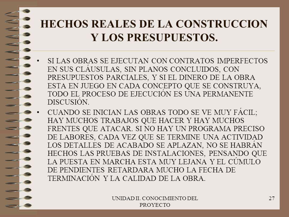 UNIDAD II. CONOCIMIENTO DEL PROYECTO 27 HECHOS REALES DE LA CONSTRUCCION Y LOS PRESUPUESTOS. SI LAS OBRAS SE EJECUTAN CON CONTRATOS IMPERFECTOS EN SUS