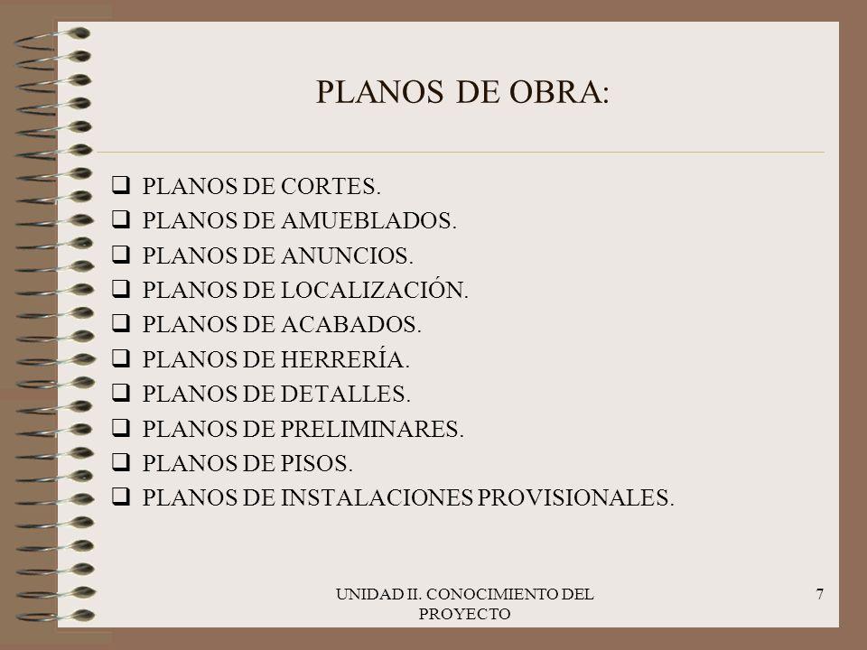 UNIDAD II. CONOCIMIENTO DEL PROYECTO 7 PLANOS DE OBRA: qPLANOS DE CORTES. qPLANOS DE AMUEBLADOS. qPLANOS DE ANUNCIOS. qPLANOS DE LOCALIZACIÓN. qPLANOS