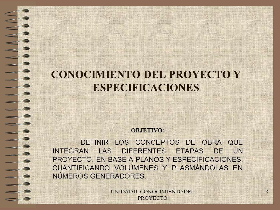 UNIDAD II.CONOCIMIENTO DEL PROYECTO 19 LOS NÚMEROS GENERADORES Y LAS ESTIMACIONES DE OBRA.