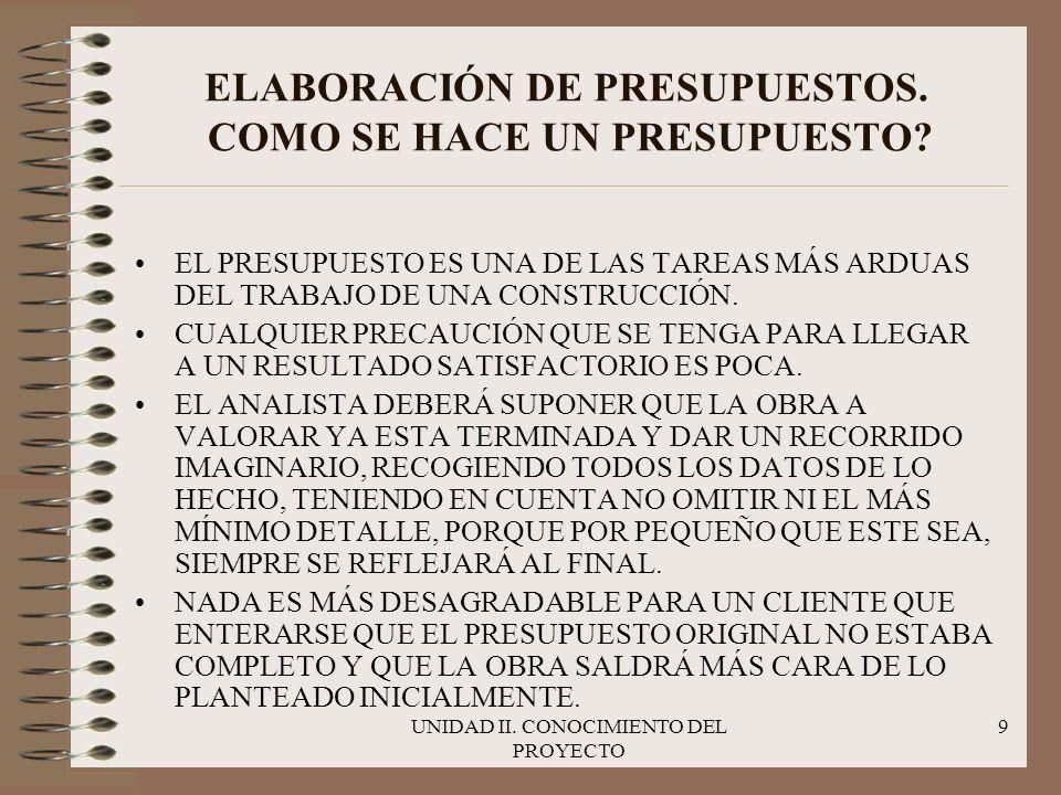 UNIDAD II.CONOCIMIENTO DEL PROYECTO 10 ELABORACIÓN DE UN PRESUPUESTO.