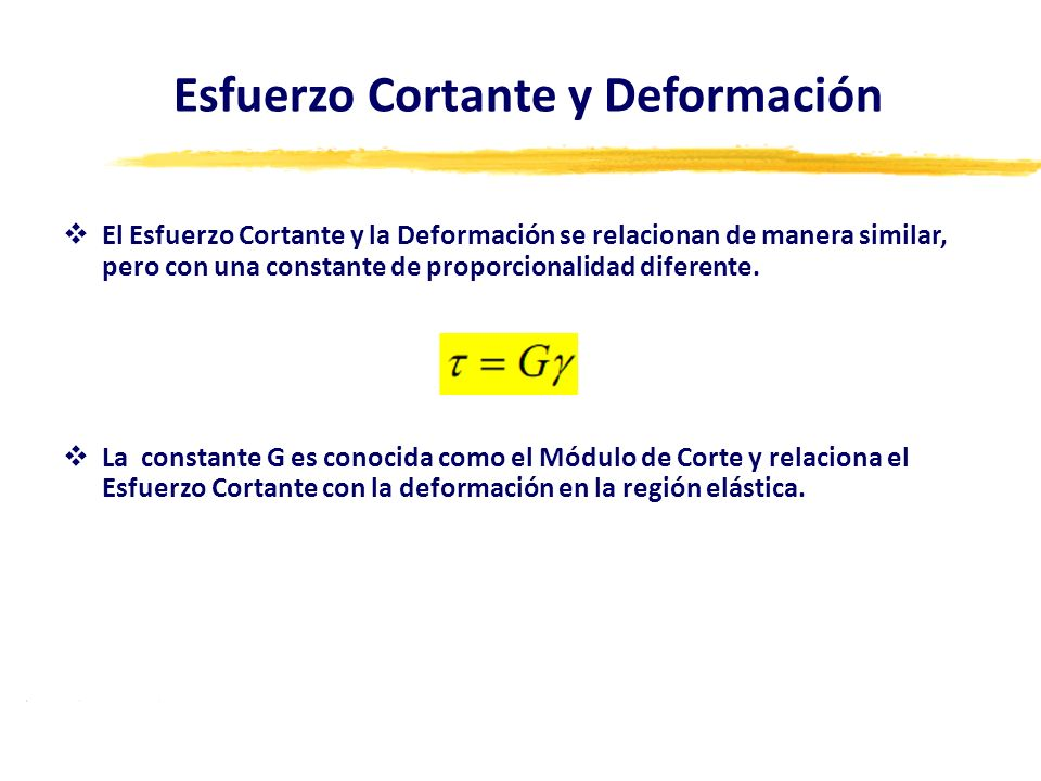 El Esfuerzo Cortante y la Deformación se relacionan de manera similar, pero con una constante de proporcionalidad diferente. La constante G es conocid