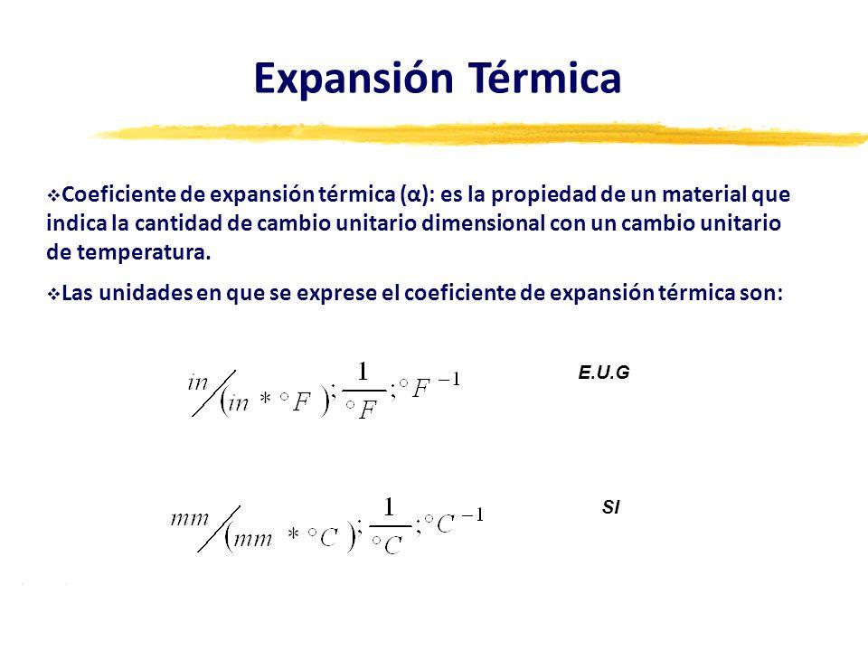 Coeficiente de expansión térmica (α): es la propiedad de un material que indica la cantidad de cambio unitario dimensional con un cambio unitario de t